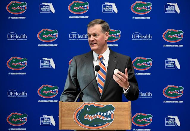 Florida athletic director Scott Stricklin tested positive for the coronavirus last month, he announced on Tuesday. (Rob Foldy/Getty Images)