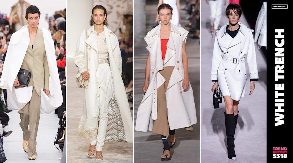 <p>Refresh your usual beige trench coats for a crisp white version next spring. (Photo: ImaxTree) </p>