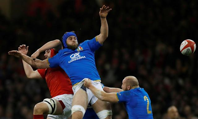 Rugby Union - Six Nations Championship - Wales vs Italy - Principality Stadium, Cardiff, Britain - March 11, 2018 Wales' Cory Hill in action with Italy's Dean Budd Action Images via Reuters/Paul Childs TPX IMAGES OF THE DAY