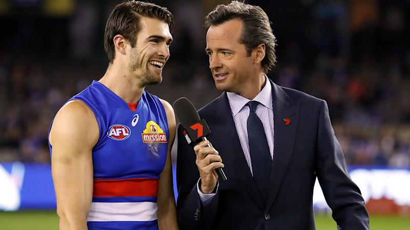 Hamish McLachlan, pictured here interviewing Easton Wood during an AFL game in 2018.