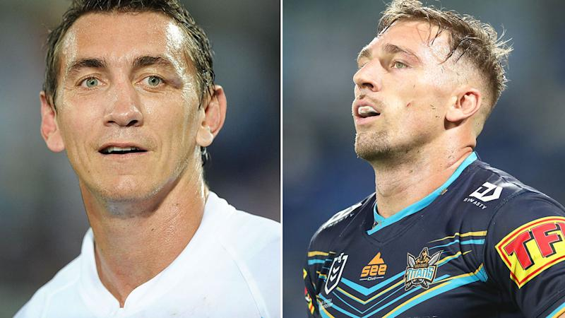 Pictured here, NRL great Mat Rogers and Titans star, Bryce Cartwright.