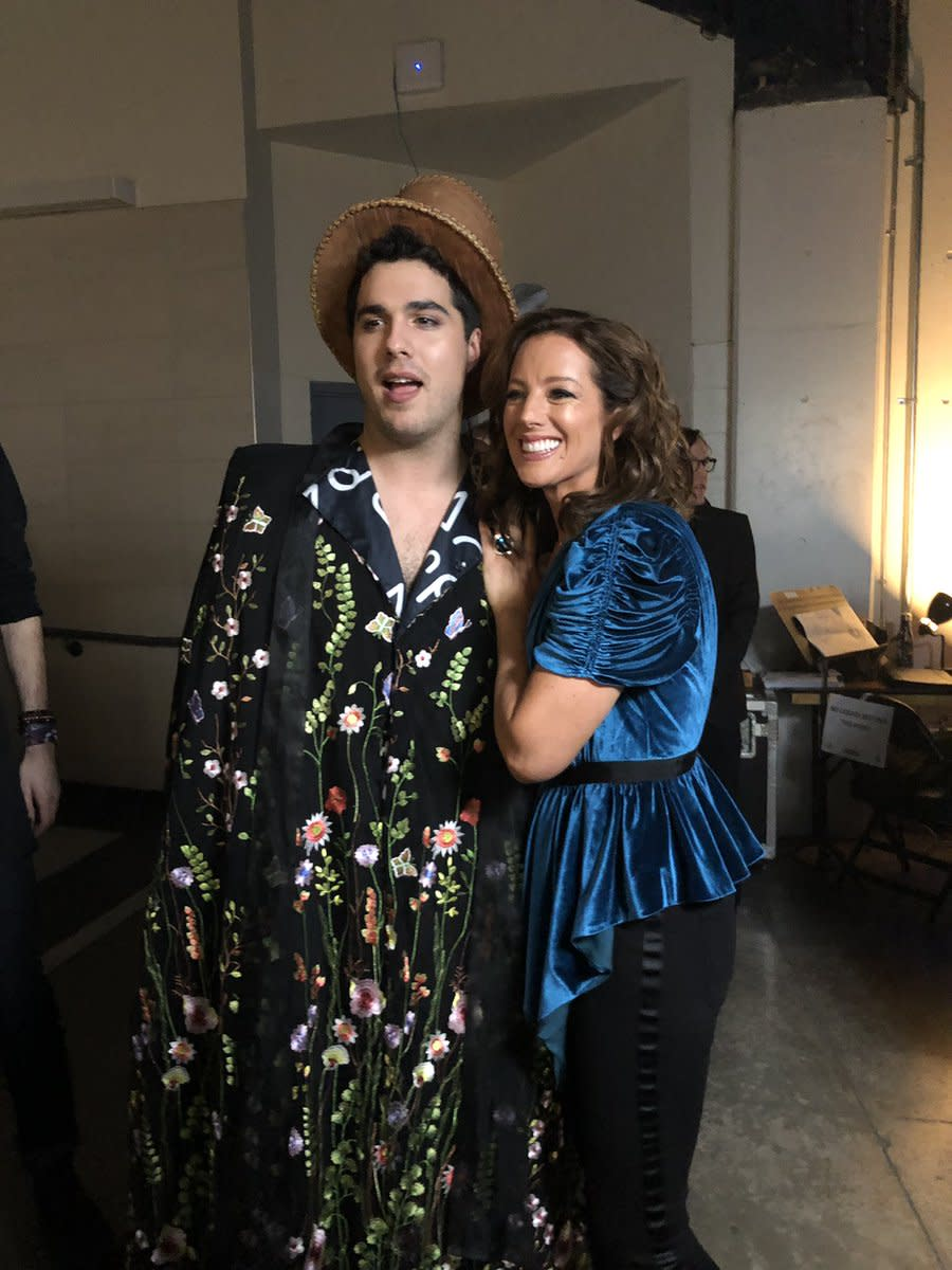 <p>McLachlan changed into a one shoulder velvet top for her performance before sneaking off backstage to pose with Indigenous Artist of the Year winner, Jeremy Dutcher. </p>