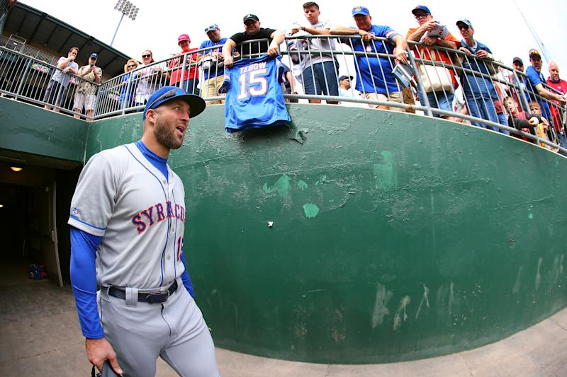 ALLENTOWN, PA - MAY 02: Tim Tebow #15 of the Syracuse Mets walks into the dugout before a AAA minor league baseball game against the Lehigh Valley Iron Pigs on May 1, 2019 at Coca Cola Park in Allentown, Pennsylvania. (Photo by Rich Schultz/Getty Images)