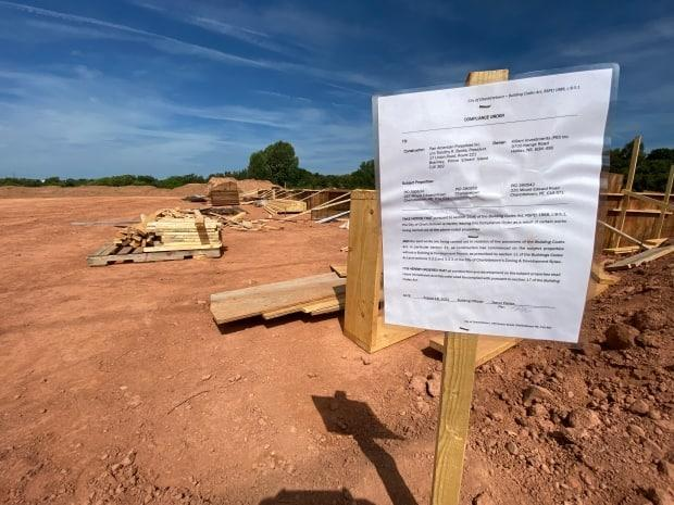 The City of Charlottetown issued stop-work orders earlier this month for the Sherwood Crossing site at Towers Road and Mount Edward Road. (Kirk Pennell/CBC - image credit)
