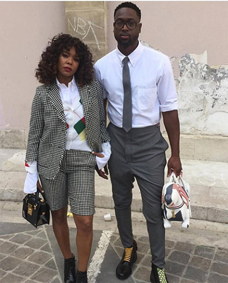 "<p>At Thom Browne, Wade channeled his inner ""Black Clark Kent."" (Photo: <a rel=""nofollow"" href=""https://www.instagram.com/p/BVyuSMUg-du/"">Dwyane Wade via Instagram</a>) </p>"