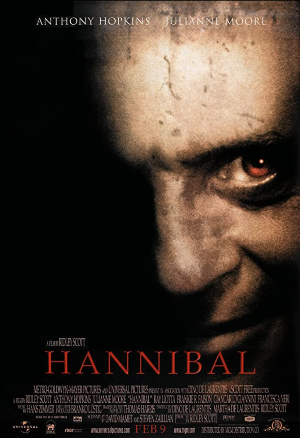 <p>It's not a small feat to follow up the 1991 film <em>Silence of the Lambs</em>, but <em>Hannibal</em> does just that. Released on February 9, 2001, this installment follows Dr. Hannibal Lecter (Anthony Hopkins) who is at large in Europe. Directed by Ridley Scott, Julianne Moore assumed the role of Clarice Starling vacated by Jodie Foster.</p>