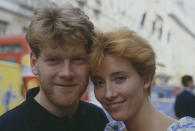 British actors Kenneth Branagh and Emma Thompson, who star together in the BBC Television drama series Fortunes of War, pictured together in London in 1987. (Photo by Larry Ellis Collection/Getty Images)