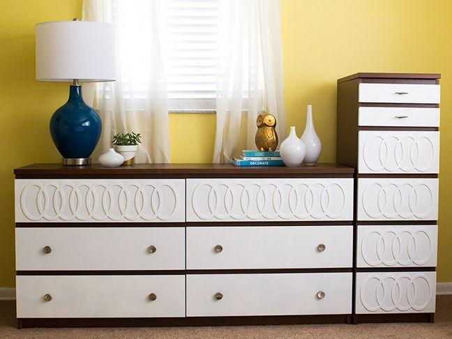 """<p>File this under overachiever status: Here's a stylish revamp that sports overlays <em>and </em>new handles. Two individual dressers were used to create a multifunctional area for clothing storage in this bedroom.</p><p>Get the tutorial at <a href=""""http://sarahhearts.com/2013-05-06/malm-dresser-1/"""" rel=""""nofollow noopener"""" target=""""_blank"""" data-ylk=""""slk:Sarah Hearts"""" class=""""link rapid-noclick-resp"""">Sarah Hearts</a>.</p><p><em><a class=""""link rapid-noclick-resp"""" href=""""https://www.amazon.com/Rust-Oleum-1977502-Painters-Touch-1-Quart/dp/B004HZELYA/?tag=syn-yahoo-20&ascsubtag=%5Bartid%7C2089.g.29514474%5Bsrc%7Cyahoo-us"""" rel=""""nofollow noopener"""" target=""""_blank"""" data-ylk=""""slk:BUY NOW"""">BUY NOW</a> <strong>Brown Paint, $9, <span class=""""redactor-unlink"""">amazon.com</span></strong></em></p>"""