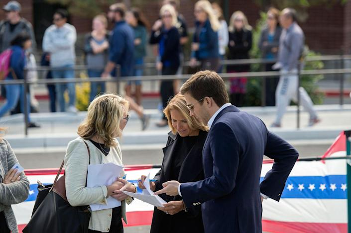 <p>Yahoo Global News Anchor Katie Couric and team wait to listen to Democratic vice presidential nominee and U.S. Sen. Tim Kaine on Thur., Sept. 22, 2016, before her interview with him at a rally at the University of Nevada, Reno. (Renée C. Byer for Yahoo News) </p>