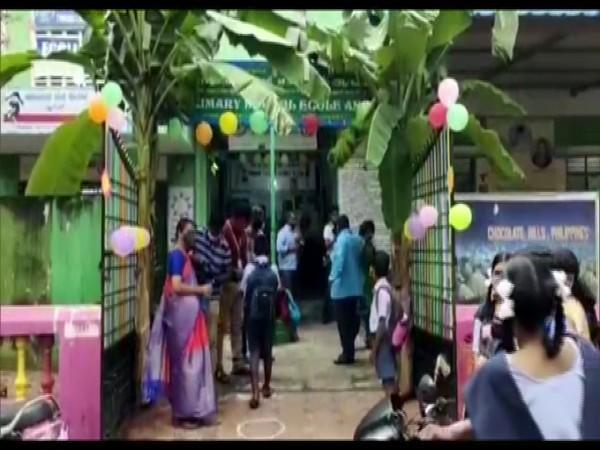 A school in Puducherry welcome students with balloons. (Photo/ANI)