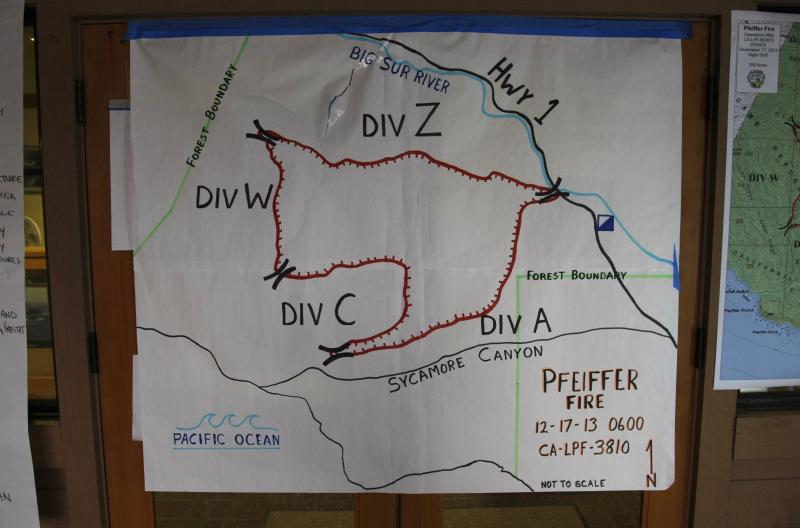 A map of the Pfeiffer Fire is displayed at the Ranger Station in Big Sur
