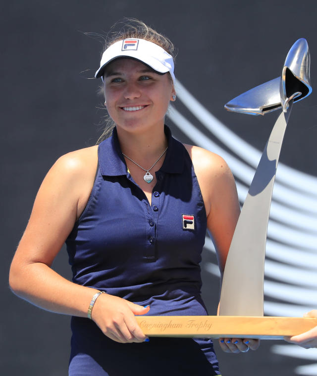 Sofia Kenin of the U.S. holds the Angie Cunningham Trophy after winning the women's singles finals at the Hobart International tennis tournament in Hobart, Australia, Saturday, Jan. 12, 2019. (Rob Blakers/AAP Image via AP)