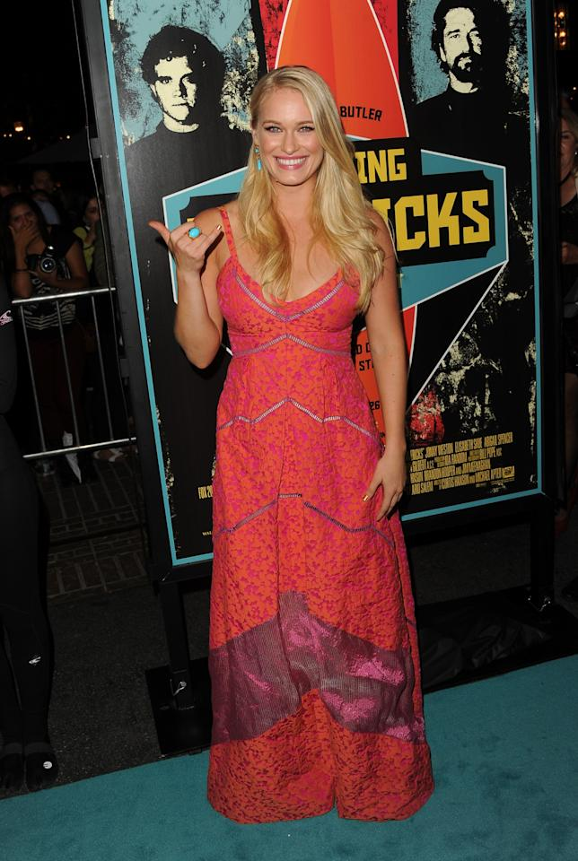 """LOS ANGELES, CA - OCTOBER 18:  Actress Leven Rambin arrives at the premiere of 20th Century Fox's """"Chasing Mavericks"""" on October 18, 2012 in Los Angeles, California.  (Photo by Jason Merritt/Getty Images)"""