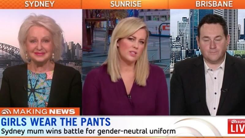 Sunrise guests Prue MacSween and Ben Davis said it made sense to introduce gender neutral-uniforms. Source: Daily Telegraph/Sunrise