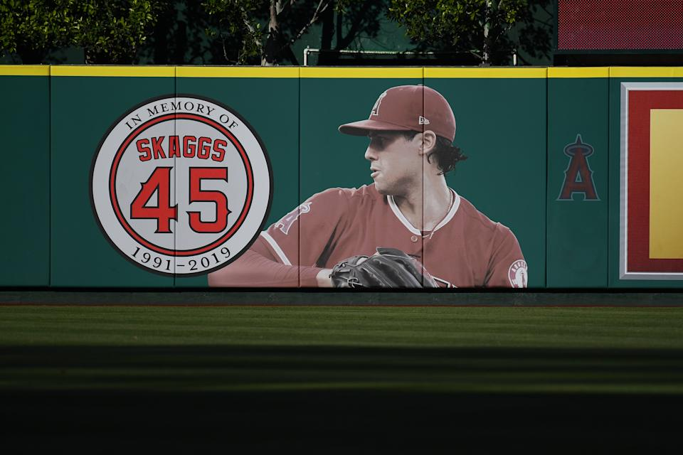 ANAHEIM, CA - JULY 18: Los Angeles Angels pitcher Tyler Skaggs (45) mural in the outfield during a MLB game between the Houston Astros and the Los Angeles Angels of Anaheim on July 18, 2019 at Angel Stadium of Anaheim in Anaheim, CA. (Photo by Brian Rothmuller/Icon Sportswire via Getty Images)