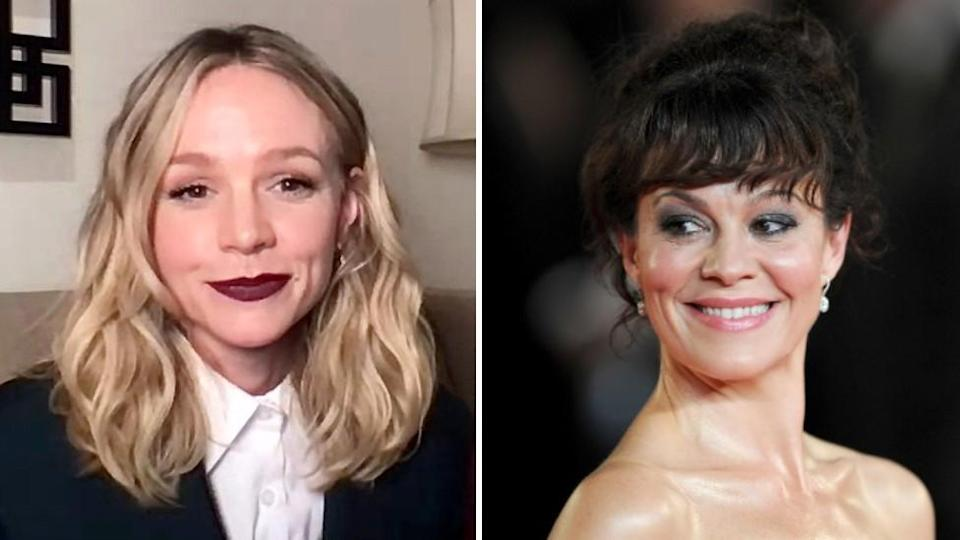 Carey Mulligan on screen at the Independent Spirit Awards (left) and Helen McCrory