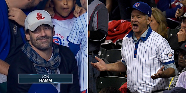Jon Hamm wore a St. Louis cap to the World Series and Bill Murray reportedly defended his turf. (AP)