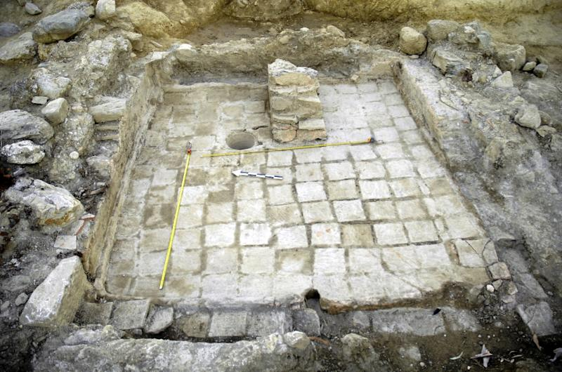 A photo released by the Greek Ministry of Culture on August 25, 2015 shows an excavations site near Sparta in the Peloponnese region with remains of a palace of the Mycenaean period, bearing important inscriptions in archaic Greek