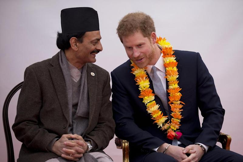 Warm words: Prince Harry at the embassy (Getty Images)