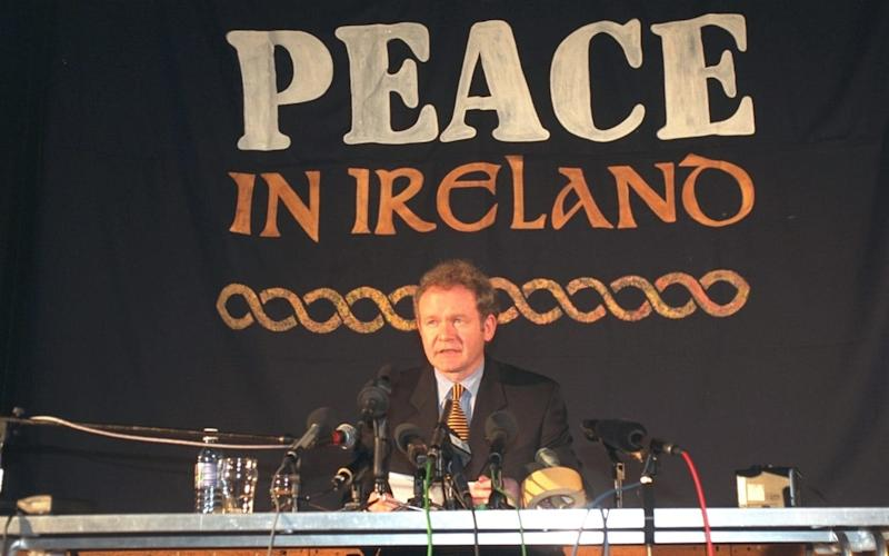Martin McGuinness, as Sinn Fein chief negotiator, during a Press conference in London in February 1998 - Credit: Brian Smith