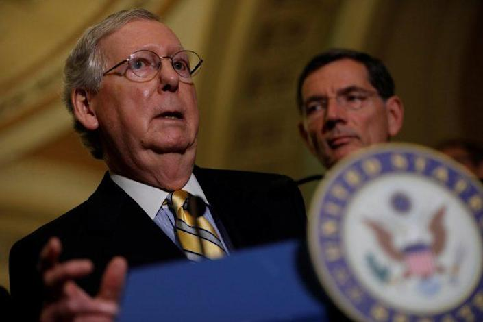 Senate Majority Leader Mitch McConnell speaks to the media about plans to repeal and replace Obamacare. (Photo: Aaron P. Bernstein/Reuters)