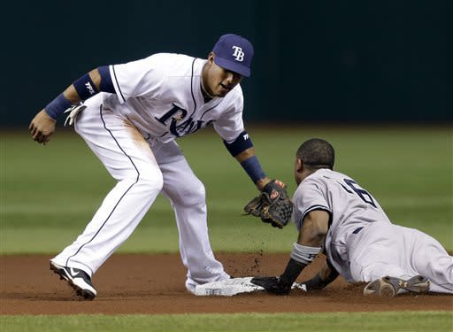 New York Yankees' Eduardo Nunez, right, slides into second with a stolen base ahead of the tag by Tampa Bay Rays' Yunel Escobar during the first inning of a baseball game Tuesday, April 23, 2013, in St. Petersburg, Fla. (AP Photo/Chris O'Meara)