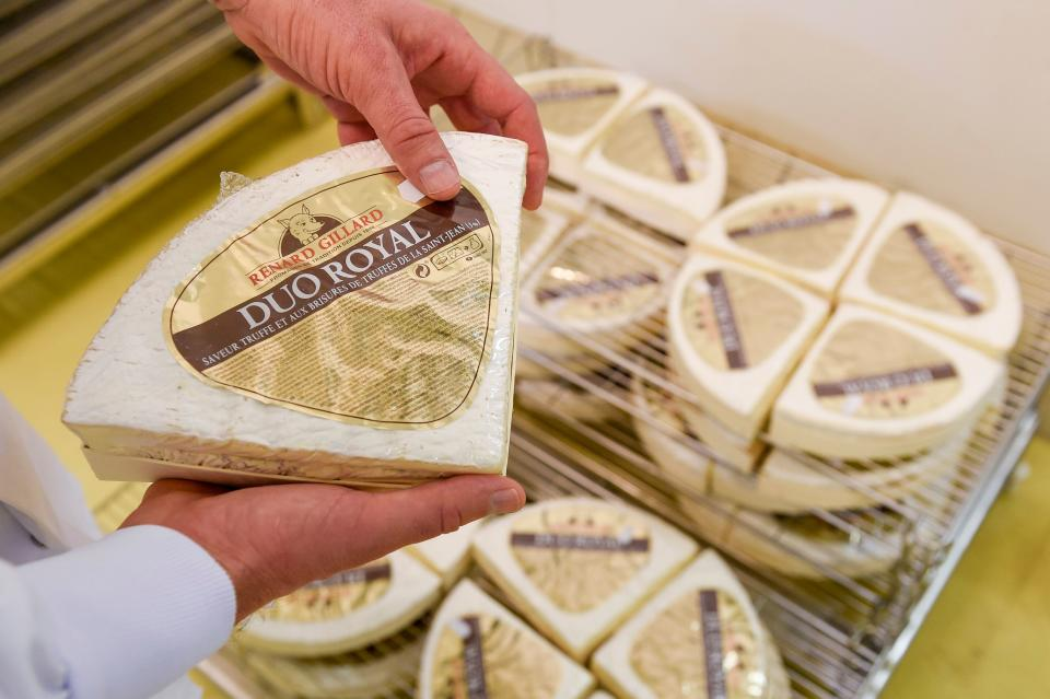 A piece of Brie de Meaux at the Donge cheese factory in Cousance-les-Triconville, northeastern France. French cheeses face some of the highest tariffs if the UK fails to agree a trade deal with the EU. Photo: Jean-Christophe Verhaegen/AFP via Getty
