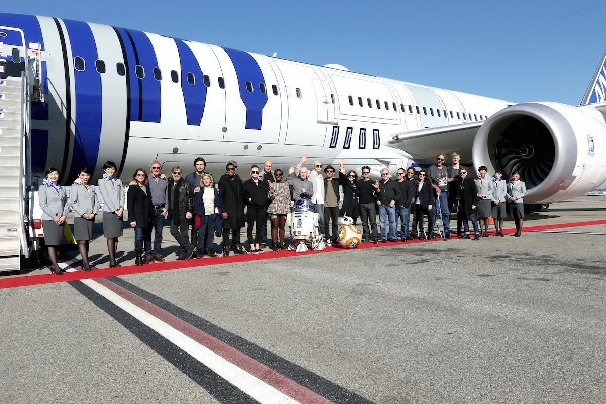 <p><i>The Force Awakens </i>cast were joined by director J.J. Abrams and producer/Lucasfilm boss Kathleen Kennedy for a chartered flight from Los Angeles to the London premiere on a specially themed R2-D2 ANA JET on Dec. 15. <br /></p>