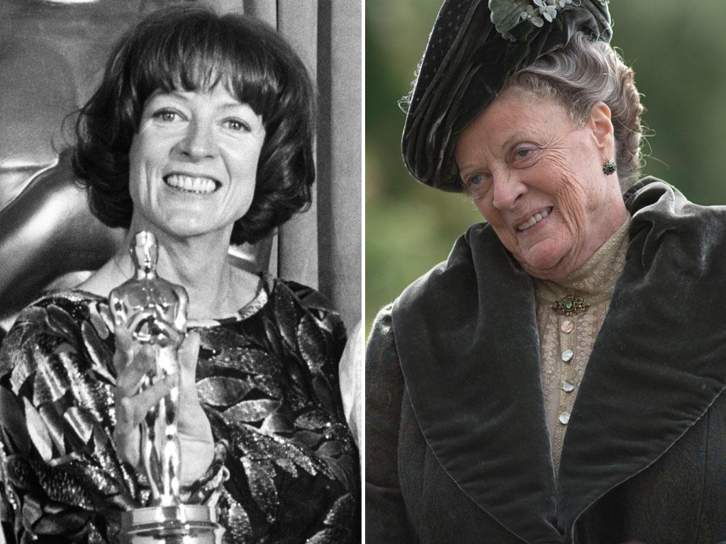 "<strong>Maggie Smith</strong><br /><br /> Won For: Playing a free-spirited teacher in 1969's ""The Prime of Miss Jean Brodie,"" and then again in 1978 for her role as an aging actress in ""California Suite.""<br /><br /> Now She Plays: Ever-traditional matriarch Violet Crawley, aka the Dowager Countess, on PBS's ""Downton Abbey"" -- a role that's netted her two Emmys (so far)."