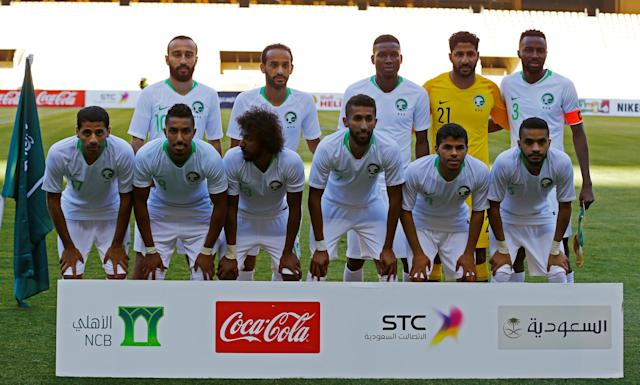Soccer Football - International Friendly - Saudi Arabia v Greece - Estadio de La Cartuja, Seville, Spain - May 15, 2018 Saudi Arabia players pose for a team group photo before the match REUTERS/Marcelo Del Pozo