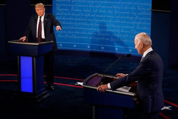 <p>After receiving the Democratic nomination, Biden faces off against President Donald Trump in a presidential debate on September 29, 2020 in Cleveland, Ohio. Shortly after the debate, Trump announced he and the first lady had both tested positive for COVID-19, a pandemic the president refused to take seriously, leading to the death of more than 230,000 Americans. After receiving treatment at Walter Reed, the president returned to the White House and immediately removed his mask in a show of force. </p>