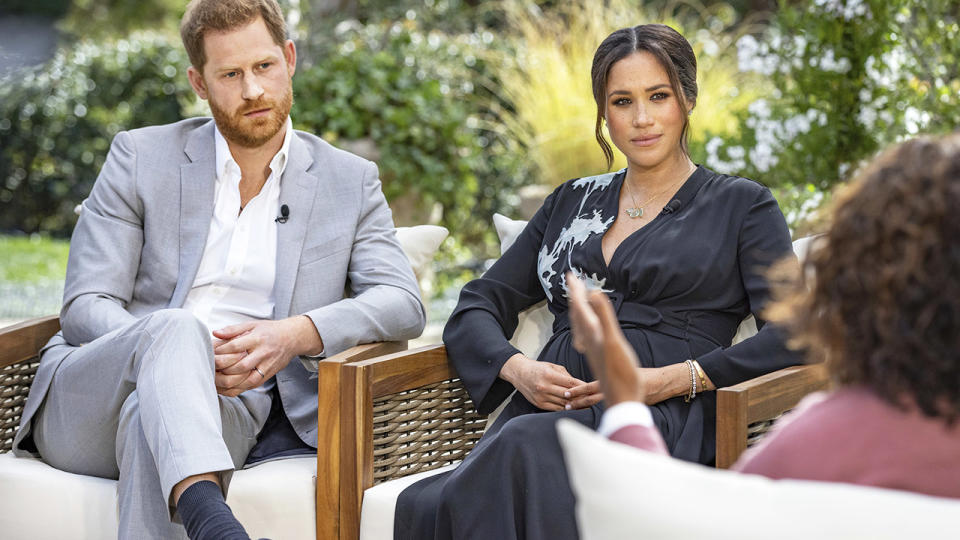 Prince Harry and Meghan Markle, pictured here speaking to Oprah Winfrey in their tell-all interview.
