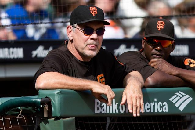 San Francisco Giants manager Bruce Bochy watches a game during the 2018 season. This will be his final MLB season. (AP)