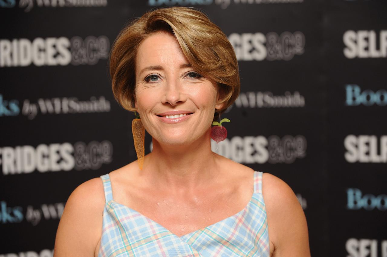 LONDON, ENGLAND - SEPTEMBER 06:  Emma Thompson  Signs copies of her new book, 'The Further Tales of Peter Rabbit' at Selfridges on September 6, 2012 in London, England.  (Photo by Ferdaus Shamim/Getty Images)