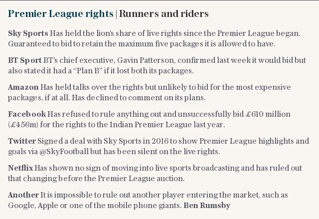 Premier League rights | Runners and riders