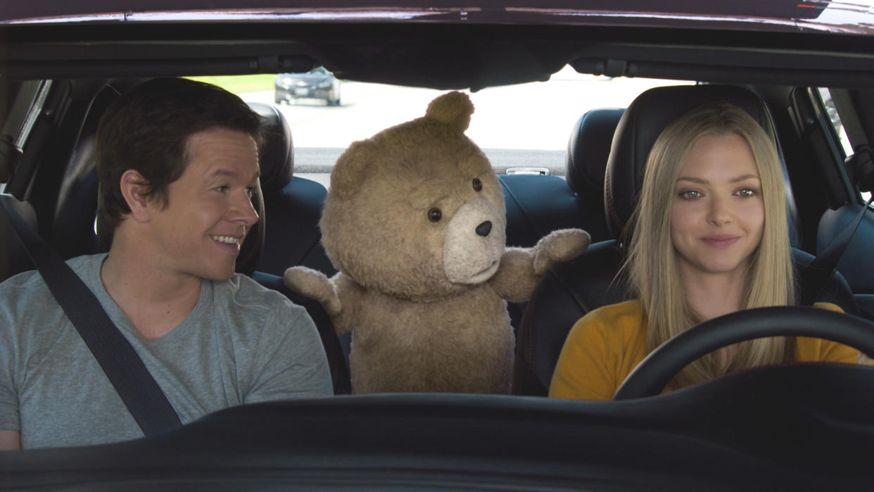 Amanda Seyfried joined Mark Wahlberg and the voice of Seth MacFarlane for comedy sequel 'Ted 2'. (Universal)