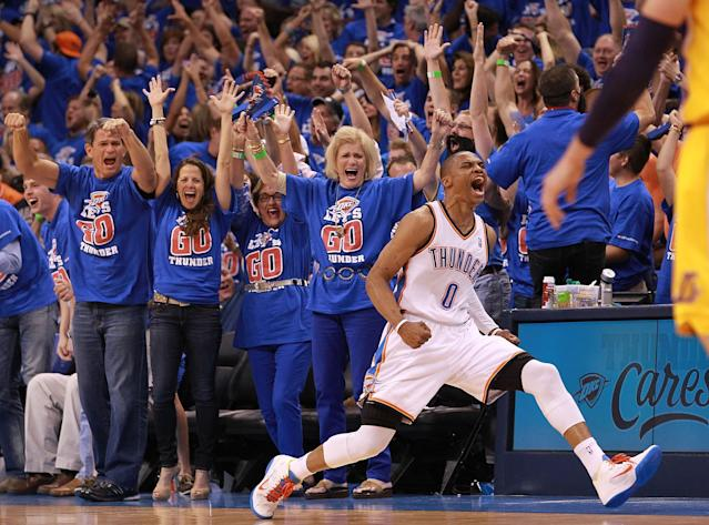 OKLAHOMA CITY, OK - MAY 21: Russell Westbrook #0 of the Oklahoma City Thunder reacts after scoring while fouled against the Los Angeles Lakers during Game Five of the Western Conference Semifinals of the 2012 NBA Playoffs at Chesapeake Energy Arena on May 21, 2012 in Oklahoma City, Oklahoma. NOTE TO USER: User expressly acknowledges and agrees that, by downloading and or using this photograph, User is consenting to the terms and conditions of the Getty Images License Agreement. (Photo by Ronald Martinez/Getty Images)