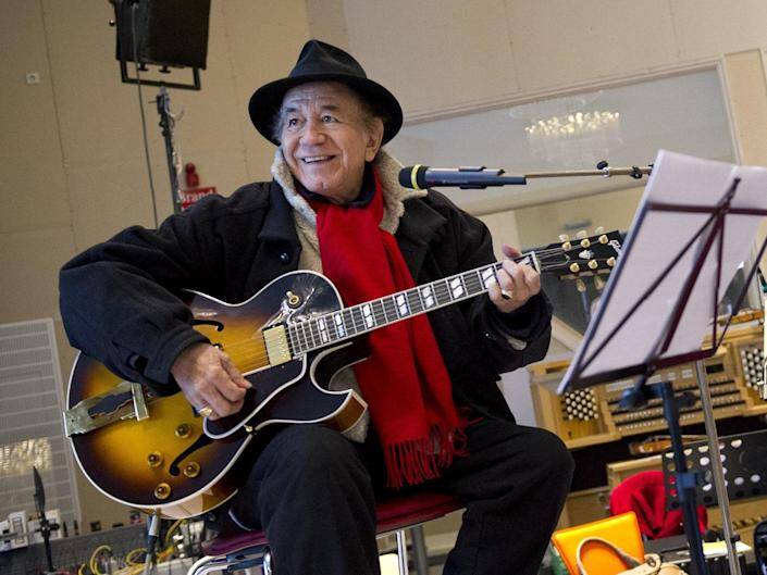 Trini Lopez in the studio in 2013 as part of a collaboration with Andre Rieu: AFP via Getty Images