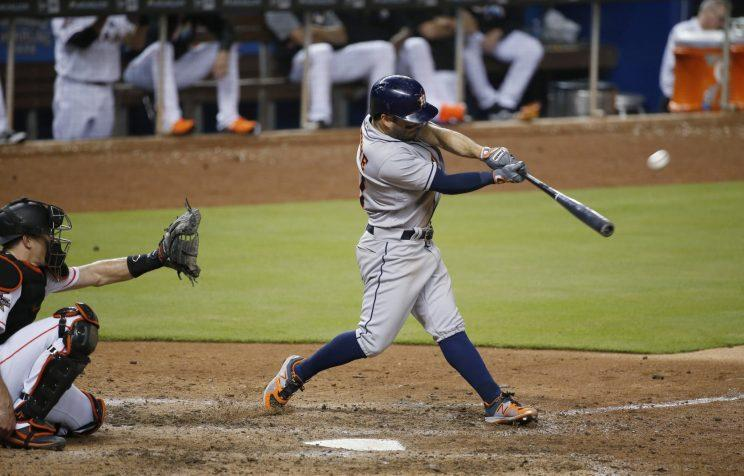There was nothing tiny about this Jose Altuve homer. (AP Photo)