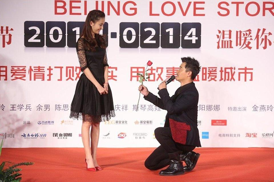 Tong Liya husband Chen Sicheng attend a press conference for Beijing Love Story in 2013 in Hong Kong. Photo: Getty