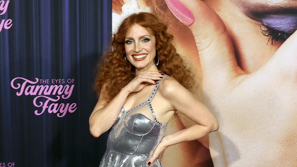 Jessica Chastain plays the lead role in biopic 'The Eyes of Tammy Faye'. (Taylor Hill/WireImage)