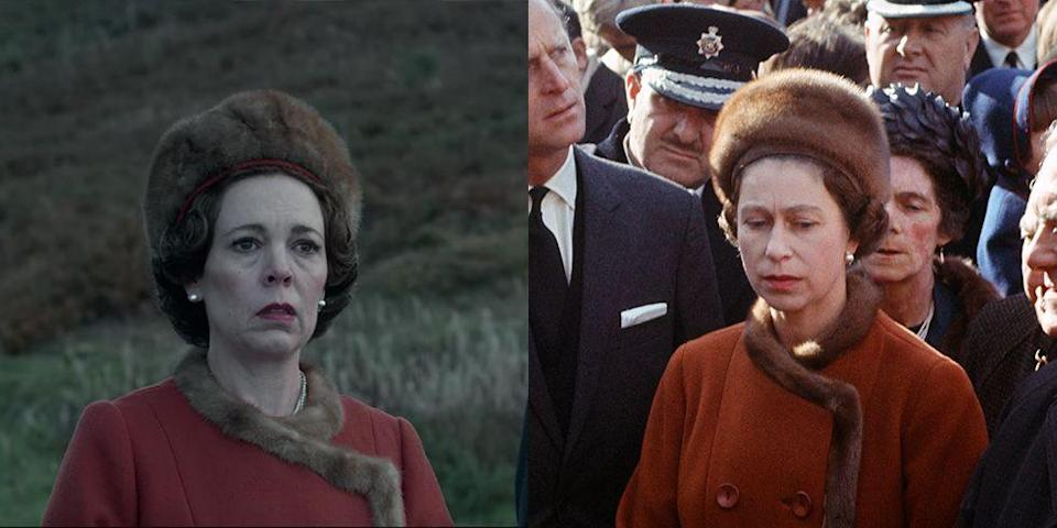 <p>The monarch was thrown into a crisis when the tragic disaster happened in Aberfan in 1966. When Queen Elizabeth visited the town, she wore a burnt orange coat dress, trimmed with mink fur and a mink cap, both on the show and in real life.</p>