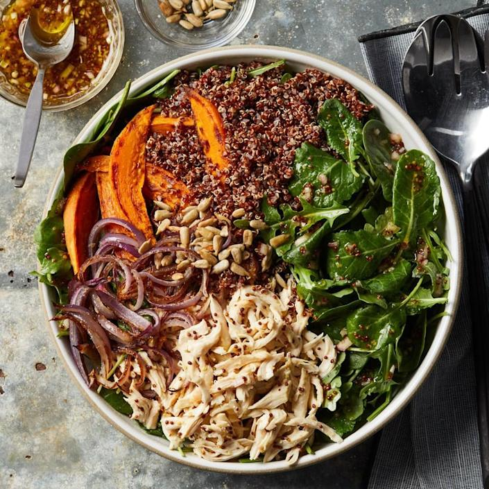 <p>Make this satisfying salad in the evening and enjoy one portion for dinner, then pack the remaining portion for lunch the next day. Loaded with protein- and fiber-rich ingredients like chicken, sweet potato and quinoa plus power greens, this meal is nutrition-packed!</p>