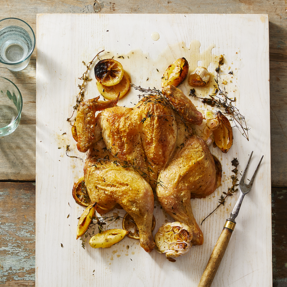 """<p>Learn this simple technique to a perfectly cooked roast chicken— in a whole lot less time!</p><p><em><a href=""""https://www.goodhousekeeping.com/food-recipes/cooking/a30383617/how-to-spatchcock-a-chicken/"""" rel=""""nofollow noopener"""" target=""""_blank"""" data-ylk=""""slk:Get the recipe for Spatchcock Chicken »"""" class=""""link rapid-noclick-resp"""">Get the recipe for Spatchcock Chicken »</a></em></p>"""
