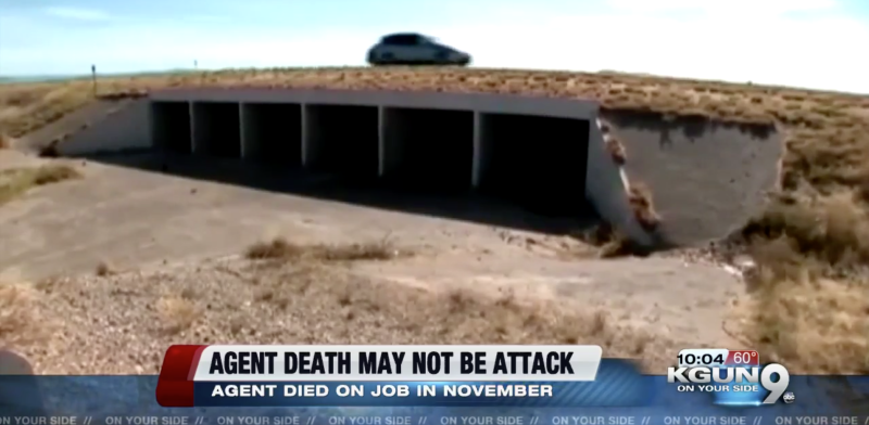 "The agent was found unconscious at the bottom of this culvert. His partner said that they ""ran into a culvert"" (KGUN)"