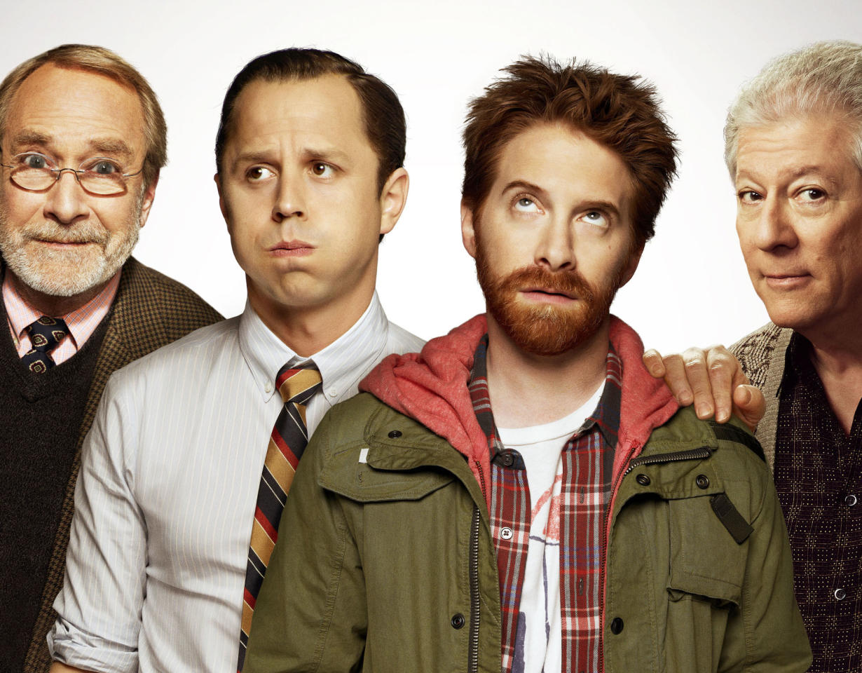"""Martin Mull, Giovanni Ribisi, Seth Green, and Peter Riegert in """"Dads"""" on Fox."""