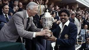 Kapil Dev lifting the World Cup trophy in 1983