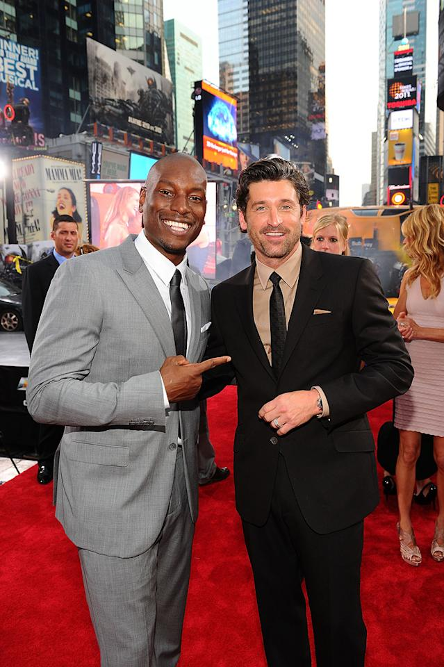 """<a href=""""http://movies.yahoo.com/movie/contributor/1804500453"""">Tyrese Gibson</a> and <a href=""""http://movies.yahoo.com/movie/contributor/1800043748"""">Patrick Dempsey</a> at the New York City premiere of <a href=""""http://movies.yahoo.com/movie/1810159115/info"""">Transformers: Dark of the Moon</a> on June 28, 2011."""