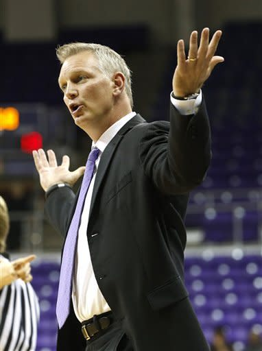 TCU head coach Jeff Mittie questions a call in the first half of an NCAA women's college basketball game against Georgia, Wednesday, Dec. 19, 2012, in Fort Worth, Texas. (AP Photo/Sharon Ellman)