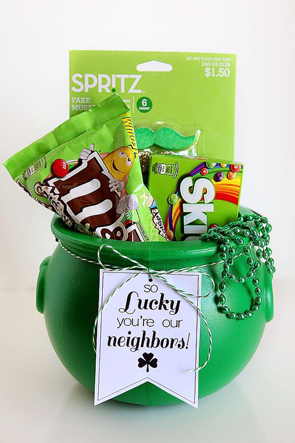 """<p>Leave your favorite neighbors with a pot o' treats!<br></p><p><strong>Get the tutorial from <a href=""""http://eighteen25.com/2015/03/so-lucky-st-patricks-day-tags/"""" rel=""""nofollow noopener"""" target=""""_blank"""" data-ylk=""""slk:Eighteen25"""" class=""""link rapid-noclick-resp"""">Eighteen25</a>. </strong></p>"""